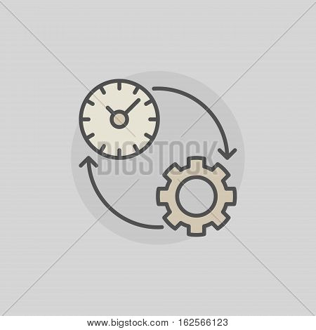 Colorful productivity icon. Vector time management sign on gray background