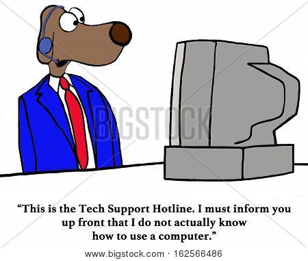Color business cartoon about a customer service rep on a tech hotline who does not know how to work a computer.
