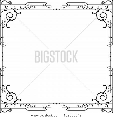 Whimsical black square frame with vignettes. Page decoration