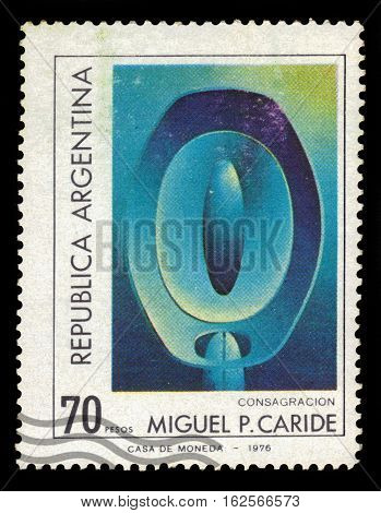 Argentina - CIRCA 1977: A stamp printed in Argentina shows Consagracion painting by Miguel Caride, circa 1977
