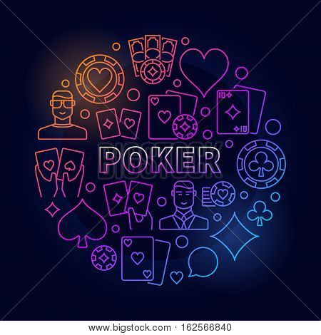 Vector poker colorful illustration. Circular gambling symbol made with icons of playing cards, chips and players on dark blue background