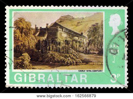 GIBRALTAR - CIRCA 1971: A stamp printed in Gibraltar shows Convent Garden (Early 19th century), circa 1971