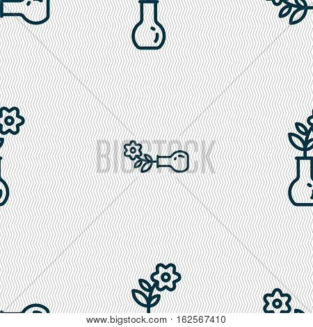 Flower In Vase Icon Sign. Seamless Pattern With Geometric Texture. Vector