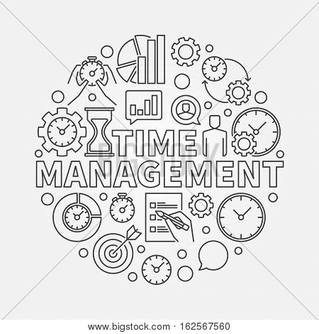 Time management line round illustration. Vector outline business and time management circular concept sign in thin line style
