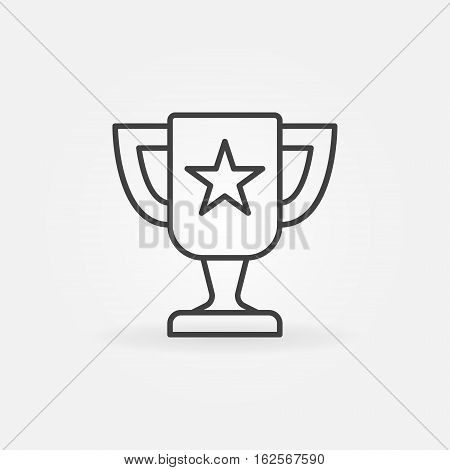 Trophy cup icon. Vector champion cup concept symbol or logo element in thin line style