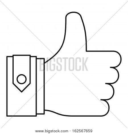 Thumbs up icon. Outline illustration of thumbs up vector icon for web