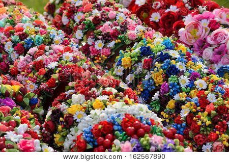 Collection of vivid colorful flower chaplets for stylish fashionable girls