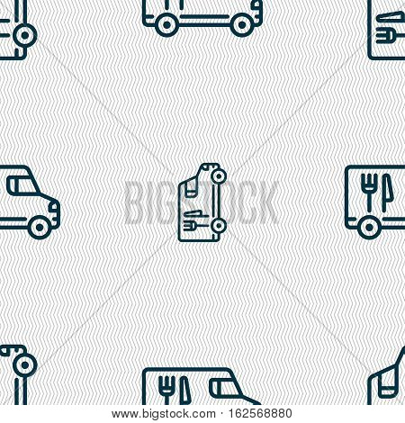 Food Truck Icon Sign. Seamless Pattern With Geometric Texture. Vector