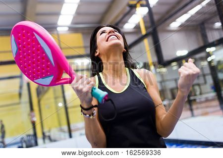 Paddle Tennis Player Celebrating A Win.