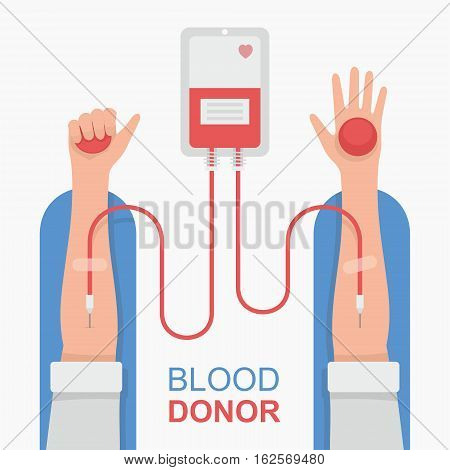 Bag with tube, hand male donor. Vector illustration. Flat design style