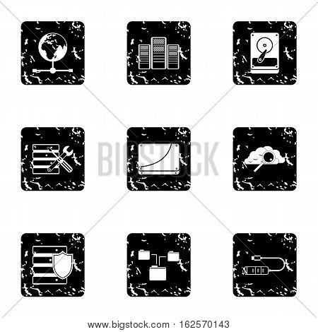 Computer repair icons set. Grunge illustration of 9 computer repair vector icons for web
