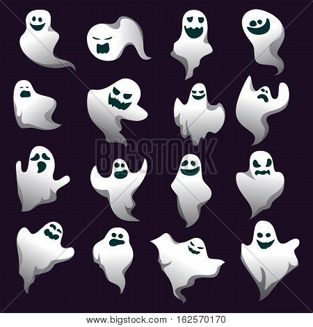 Cartoon spooky ghost character collection. Spooky and scary holiday monster design set. White costume evil silhouette ghost character on black background. Vector