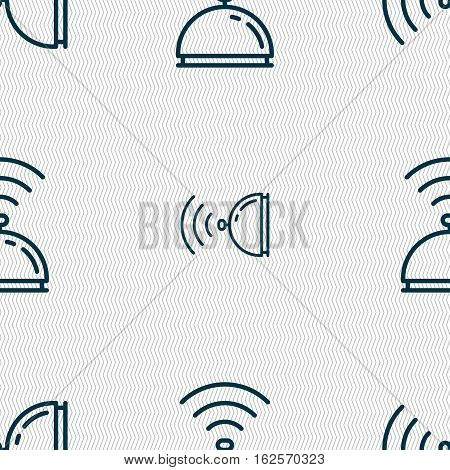 Tray Icon Sign. Seamless Pattern With Geometric Texture. Vector