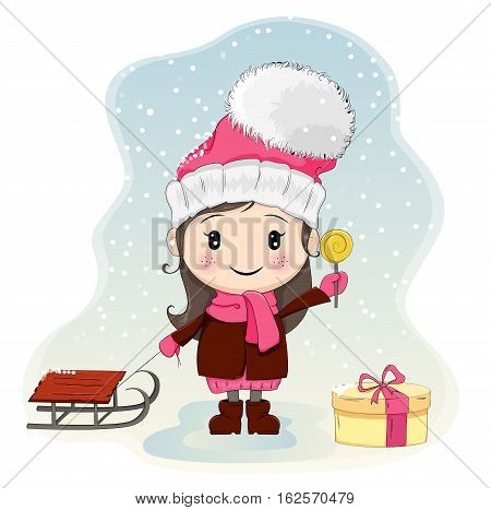 Cute little girl with sled standing near gift-box and eating candy. Pretty girl in winter clothes hat with big pompon. Vector illustration. Usable as a print or poster. EPS10