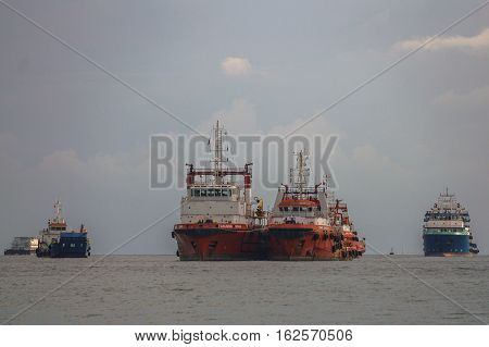 Labuan,Malaysia-Dec,212016:Offshore oil & gas sub sea construction & support vessel at Labuan.The island strategically located in the ASEAN offshore oil exploration and production region