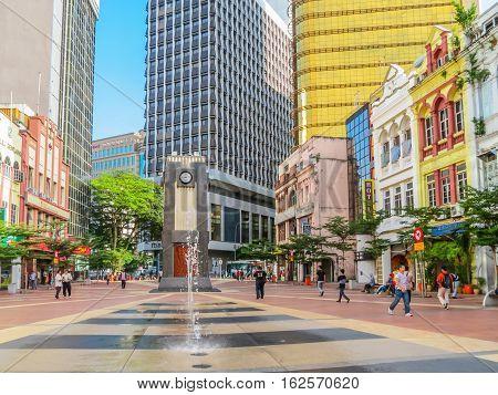 KUALA LUMPUR, MALAYSIA - JANUARY 12, 2014: Colonial district of Kuala Lumpur, Malaysia