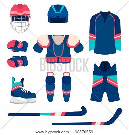 Ice hockey sport equipment set in flat style. Vector equipment template on white background.