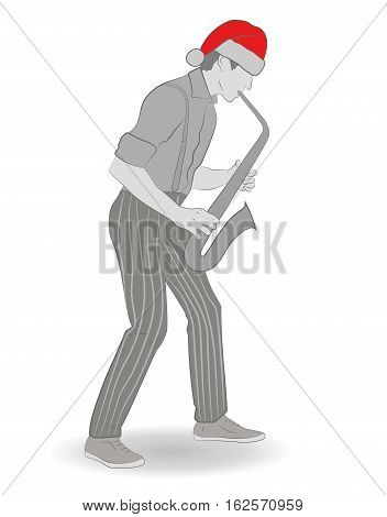 jazz saxophonist in the hat of Santa Claus. Happy New Year and Merry Christmas. vector illustration.