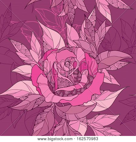 Vector seamless pattern with outline rose flower and ornate foliage in pink on the maroon background. Elegance floral background with roses and leaves in contour style for summer design.