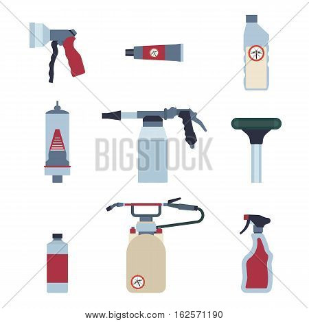 Pest control expert exterminator service set. Vector illustration