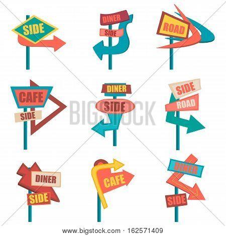 Retro road signs. Vintage billboard set. Vector illustration eps10.