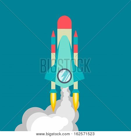 Four poster of rocket ship in a flat style. Space travel to the cosmos. Project start up and development process. Innovation product for creative idea. Vector illustration with flying cartoon rockets.
