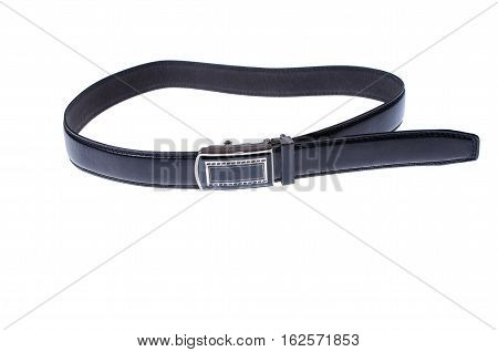 Black men's leather belt with a buckle on a white background