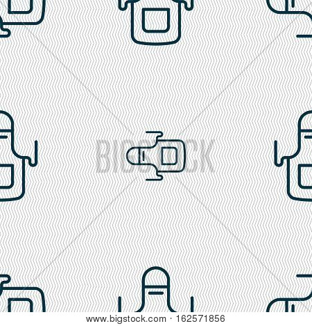 Kitchen Apron Icon Sign. Seamless Pattern With Geometric Texture. Vector
