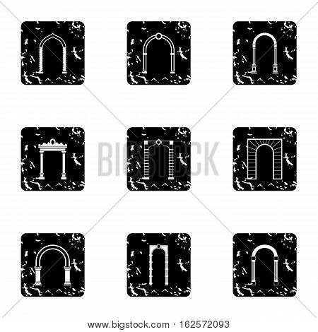 Archway icons set. Grunge illustration of 9 archway vector icons for web