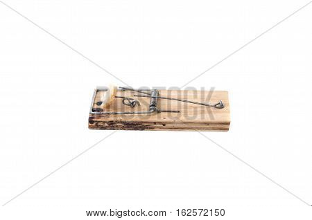 Mousetrap with bait on a white background