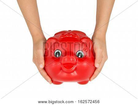 Little girl holding an Piggy Bank .
