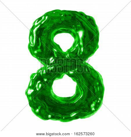 number 8 green liquid on a white background
