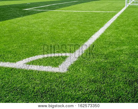 Soccer Field, Corner Side, Made From Synthetic Lawn,selective Focus