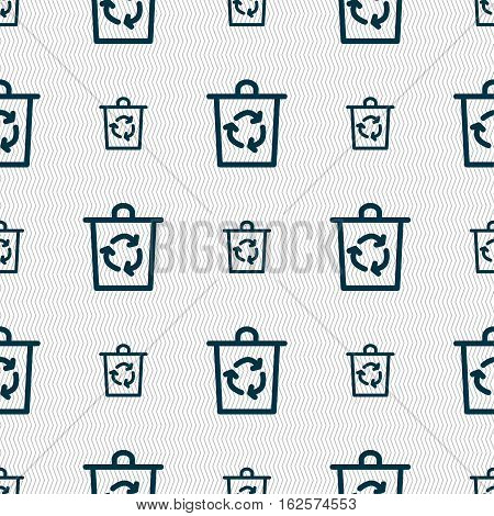 Bucket Icon Sign. Seamless Pattern With Geometric Texture. Vector