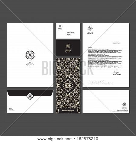 Branding identity template corporate company design. Set - business card brochure letter envelope poster leaflet for hotel resort spa luxury premium floral logo.