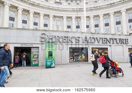 LONDON ENGLAND - DECEMBER 17: Exterior of Shrek's Adventure - tourist attraction in London. In London England. On 17th December 2016.
