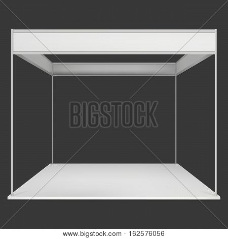 Trade Show Booth White and Blank. Blank Indoor Exhibition with Work Paths. Vector on black background. Ad Template for your Expo design.