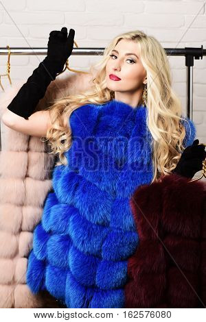 young fashionable sexy pretty woman with beautiful long curly blonde hair in waist coat of blue fur and black velvet gloves standing under rack with golden hangers on brick wall studio background