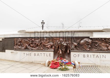 LONDON ENGLAND - DECEMBER 17: The British Royal Air Force memorial Victoria Embankment London. In London England. On 17th December 2016.
