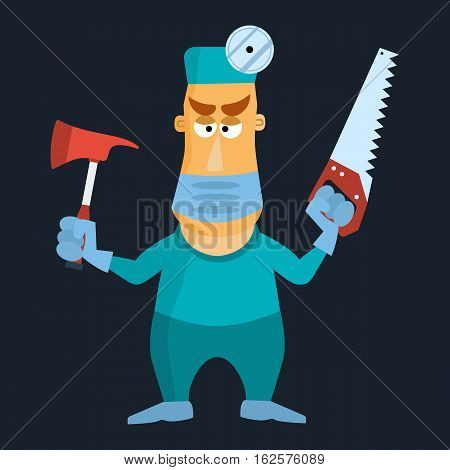 Surgeon doctor using mask axe and saw. Vector illustration
