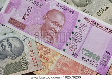 Close up of Indian Currencies Shot in Studio