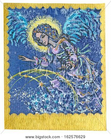 An hand drawn illustration Tarot deck card - GUARDIAN ANGEL. Colored painted. Original.