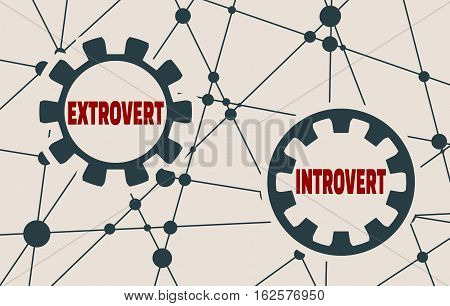 Extrovert and introvert metaphor. Image relative to human psychology. Molecule And Communication Background. Vector brochure or report design template. Connected lines with dots.