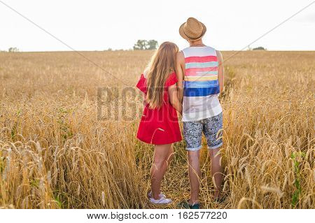 Back view of amorous couple walking in the field.