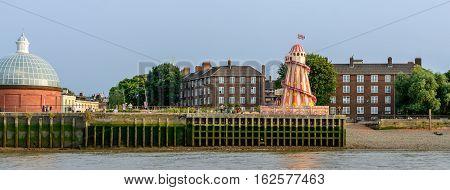 London United Kingdom - August 17: Buildings view along river Thames on August 17 2016 in London United Kingdom. River Thames is the longest river entirely in England and the second longest in the United Kingdom