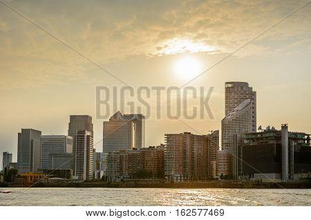 London United Kingdom - August 17: Amazing view on the river Thames on August 17 2016 in London United Kingdom. River Thames is the longest river entirely in England and the second longest in the United Kingdom