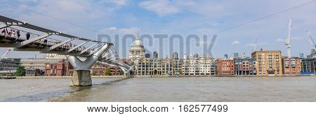 London United Kingdom August 17: Amazing view on the river Thames on August 17 2016 in London United Kingdom. River Thames is the longest river entirely in England and the second longest in the United Kingdom