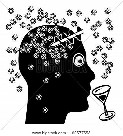 Alcohol and Brain Damage. Alcoholic drinks affect the ability to think
