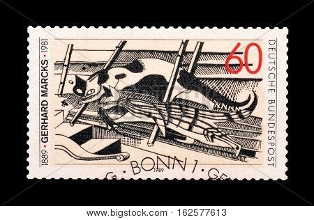 GERMANY - CIRCA 1989 : Cancelled postage stamp printed by Germany, that shows Drawing by Marcks Gerhardt.