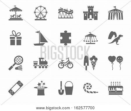 Children's games and entertainment, icons, monochrome, vector. Vector flat icons of items and objects for children. Children's rest. Gray image on a white background.